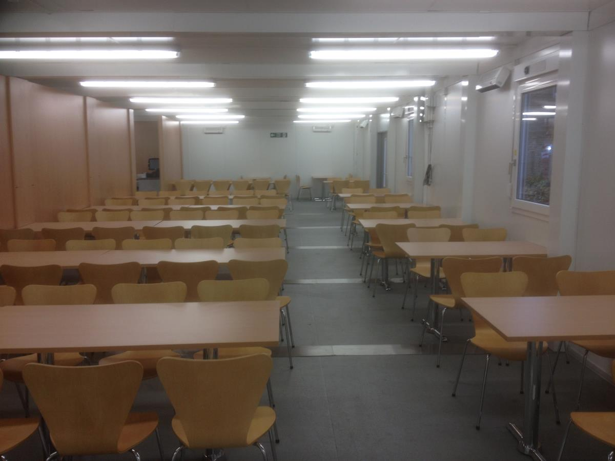 An integral dining hall within the temporary refectory buildings.