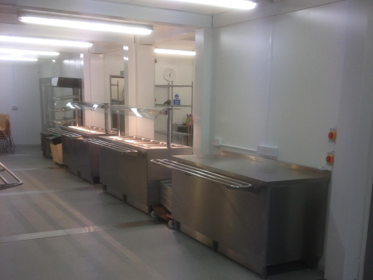 A hot servery connected to the refectory kitchens all housed in our modular building solution.
